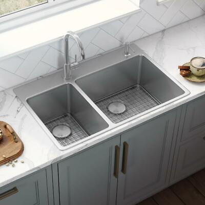 Ruvati 33 x 22 inch Drop-in Topmount Kitchen Sink 16 Gauge Stainless Steel...