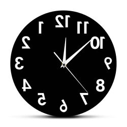 Reverse Wall Clock Unusual Numbers Backwards Modern Decor Excellent Timepiece