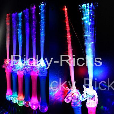 12 Unicorn Fiber Optic Wands Flashing Magic Princess Glow Party LED Sticks  ](Fibre Optic Wands)