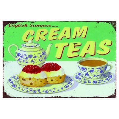 Cream teas cafe kitchen Retro Metal Wall Plaque Art Vintage tin Sign...