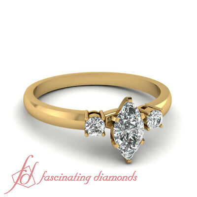 1/2 Carat Three Stone Engagement Ring With Marquise Cut And Round Diamond GIA