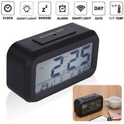 LED Sensor Light Digital Alarm Clock Snooze Time Calendar Thermometer Display