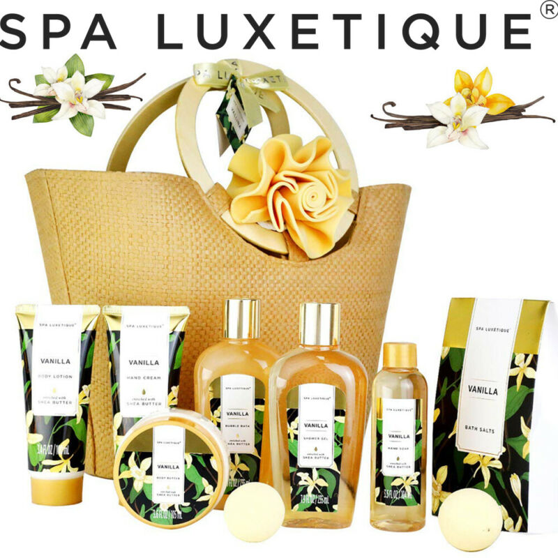 10Pcs Spa Gift Baskets for Women, Vanilla Bath Gift Set in Weaved Basket for Her