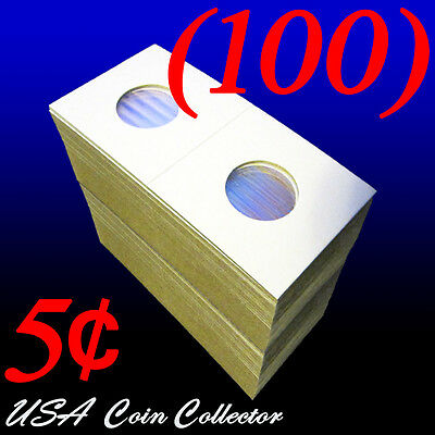 (100) Nickel Size 2x2 Mylar Cardboard Coin Flips Storage | 5 Cent Paper Holders