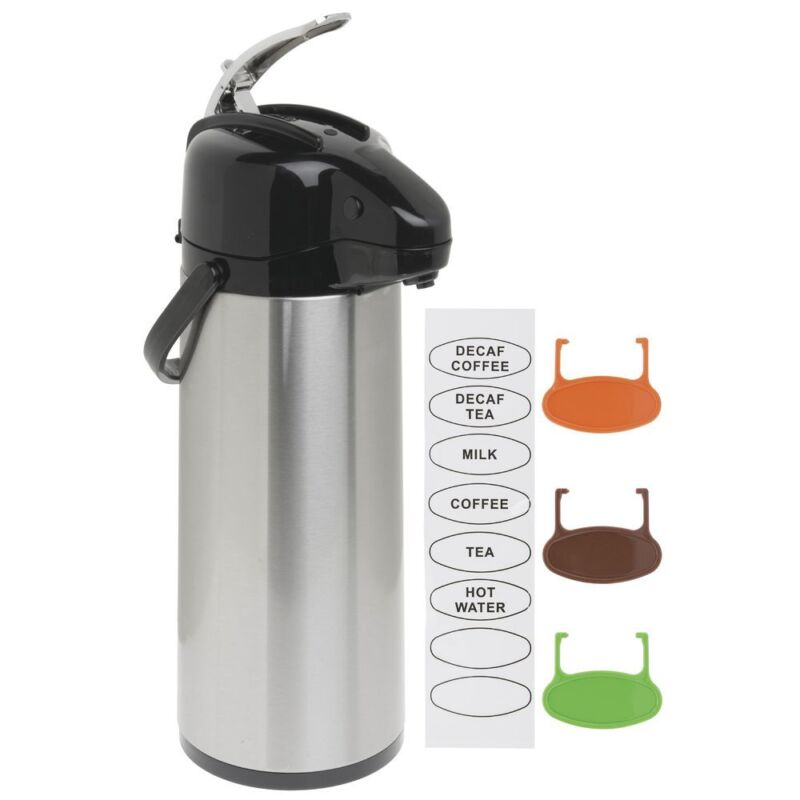 Hubert Airpot Coffee Server with Lever Lid Thermal 2 1/2L Stainless Steel