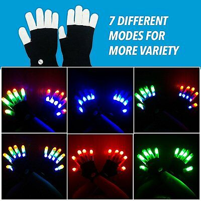 LED Rave Flashing Gloves Glow 7 Mode Light Up Finger Lighting Xmas Dance Party