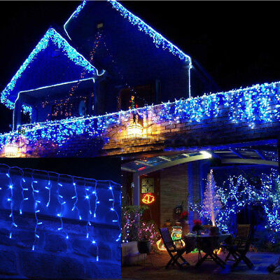 Kids Safe! Outdoor 6M Wide 300 LED Icicle Snowing Christmas Fairy Lights BLUE