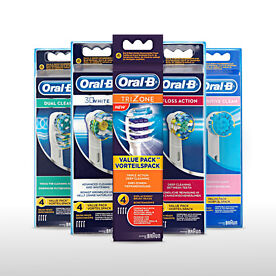 Braun Oral-B Electric Toothbrush Replacement Brush Heads -Packs of 4 Brush Heads