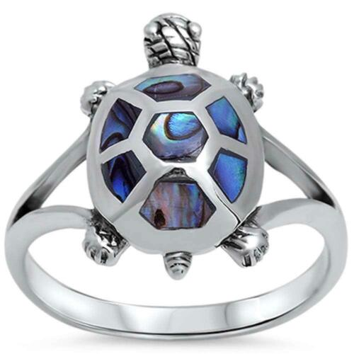 ABALONE TURTLE .925 STERLING SILVER RING - BRAND NEW