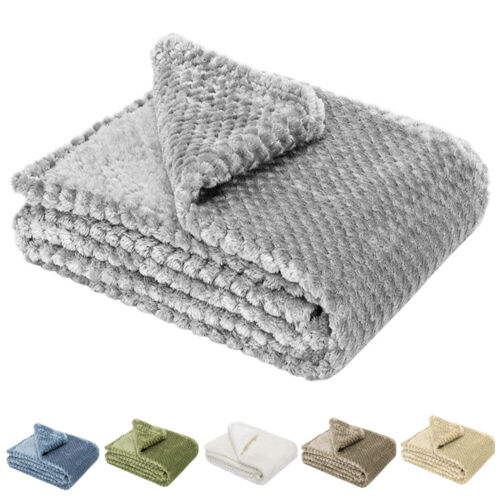 soft throw blanket 300gsm reversible warm faux