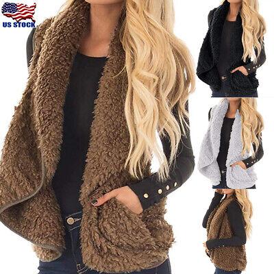 Women Warm Gilet Outwear Vest Faux Fur Waistcoat Ladies Casual Loose Jacket Coat Womens Fur Vest