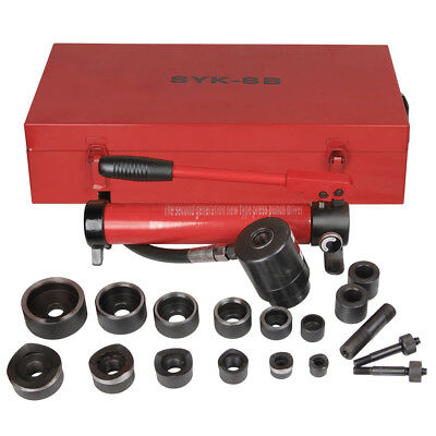 10T Hydraulic Knockout Punch Hand Pump 6 Dies Hole Tool Driver Kit w/ Metal Case