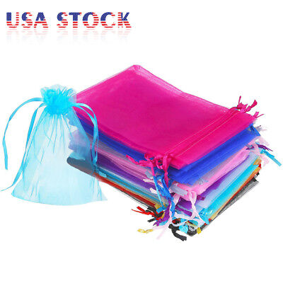 Favor Bags (100/200 Organza Wedding Party Favor Gift Bags Candy Sheer Bag Jewelry)