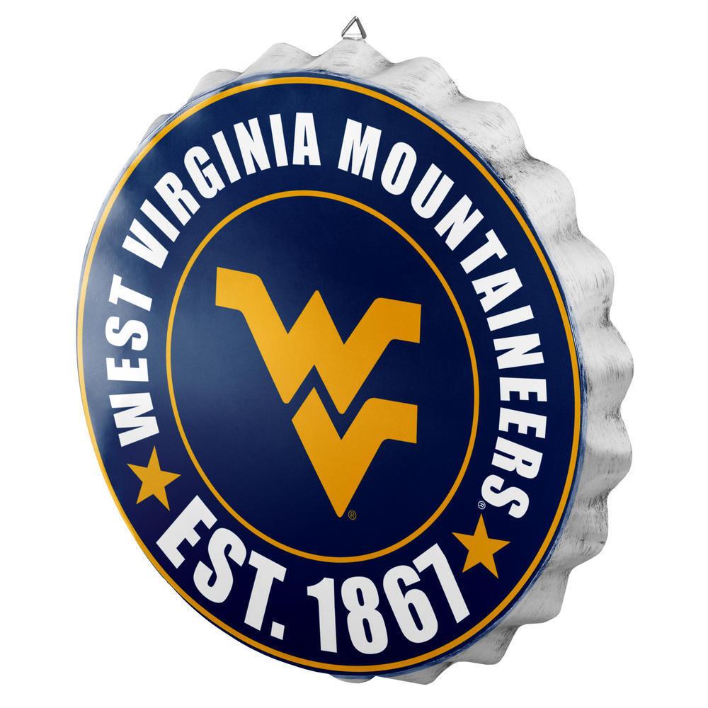 West Virginia Mountaineers Flasche Kappe Zeichen - Est 1867 Raum BAR Dekor Neu
