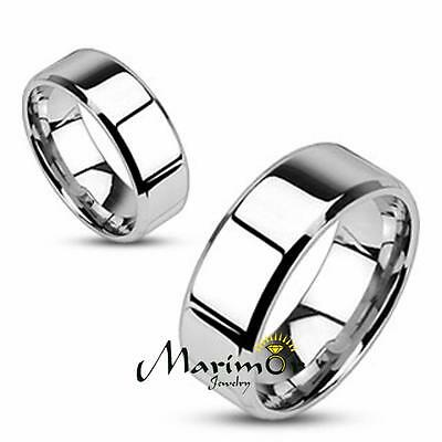 Stainless Steel Mirror Polished Flat Band with Beveled Edge 4-8mm Width Sz 5-14