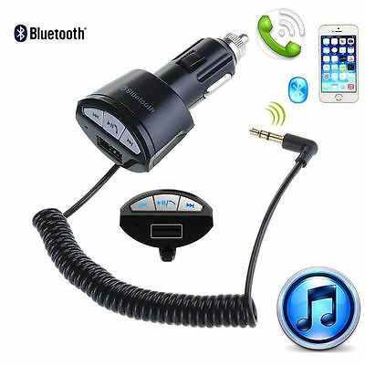 A2DP 3.5mm Handsfree Bluetooth AUX Stereo Audio Receiver Adapter Car USB Charger