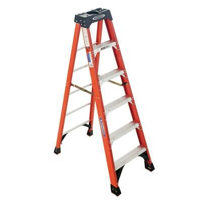 Werner Step Ladder 6 Ft. 300 Lb. Load Capacity Aluminum Rung