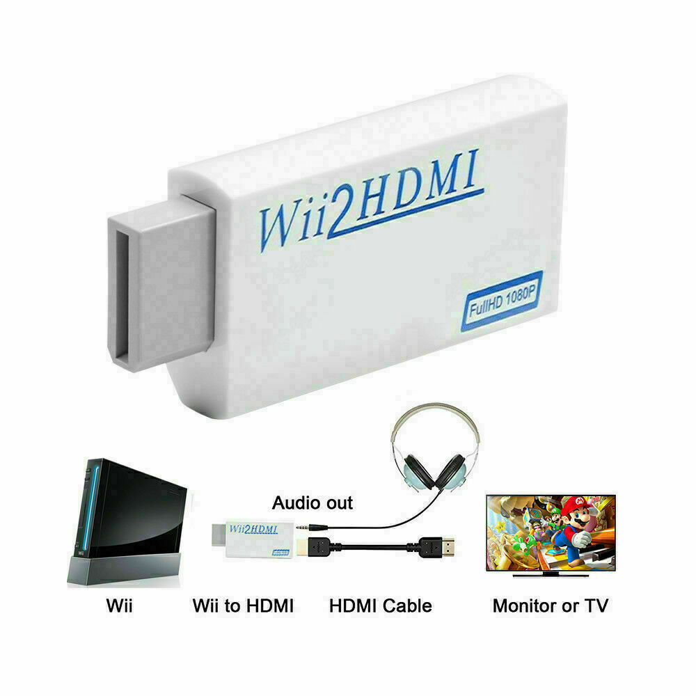 White Portable Wii to HDMI Wii 2 HDMI Full HD Converter Audio Output Adapter TV Consumer Electronics