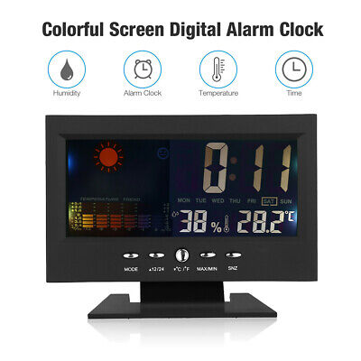 Digital Alarm Clock Thermometer Weather Snooze Calendar Color Display LCD