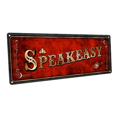 Red Speakeasy Metal Sign; Wall Decor for Home and Office (Speakeasy Decorations)