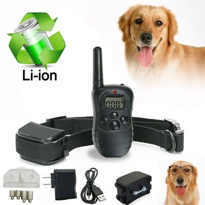 300m 100LV Dog Shock Training Collar Electric LCD Waterproof Rechargeable Remote