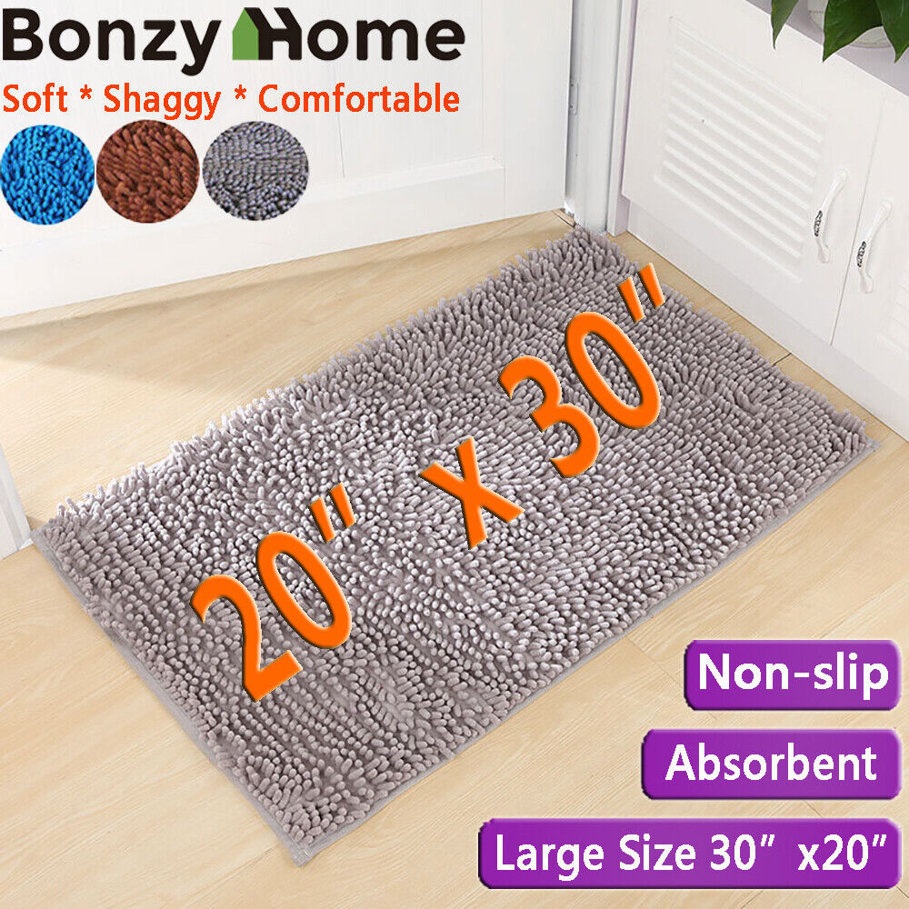 Navy And White Cotton Bath Rug 30x20 In