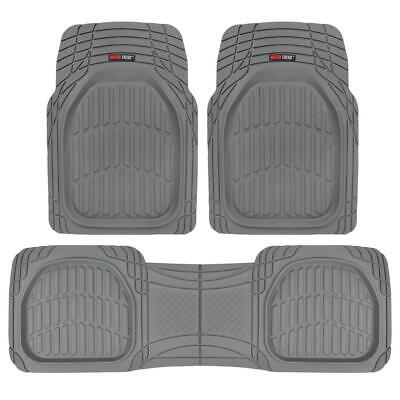 FlexTough Shell Rubber Floor Mats Gray Heavy Duty Deep Channels for Car 3pc Set
