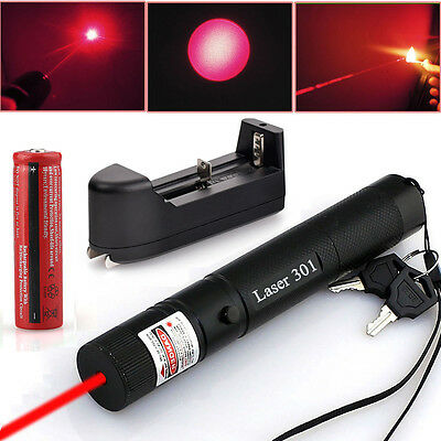 Military Red Laser Pointer Pen 5MW 650NM Visible Beam High Power + 18650+Charger on Rummage