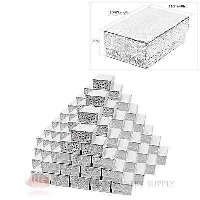 100 Cotton Filled Jewelry Gift Boxes Silver Foil Covered 2 58 X 1 12 X1
