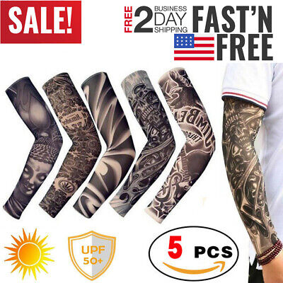 Arm Sleeves Tattoos (Tattoo Cooling Arm Sleeves Cover Basketball Golf Sport UV Sun Protection 5)