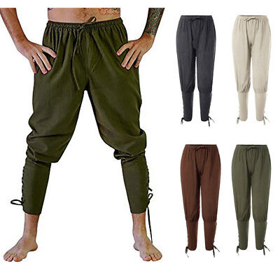 Renaissance Medieval Irish Peasant Pirate Costume Men Loose Viking Pant Trousers - Pants Costume