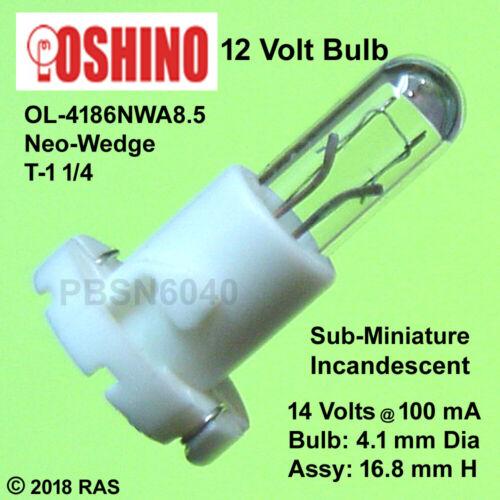 (100) Sub-Miniature 12 Volt Incandescent Bulbs (Bulb approx 4.1 mm D x 10 mm H)