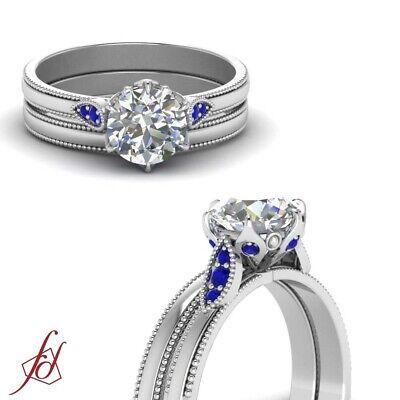 1/2 Carat Round Cut Diamond Leaf Design Wedding Ring Set In 14K White Gold GIA