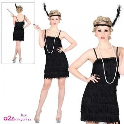 Showtime Flapper 1920s 20s 30s Charleston Moll Fringe Adult Fancy Dress (Fringe Flapper Kostüm)