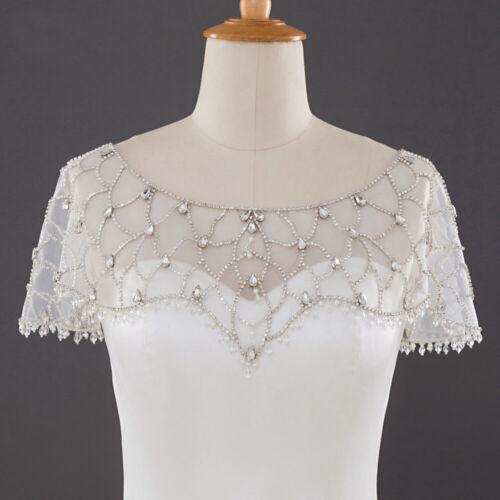 Wedding Bolero Short Beading Crystal Bridal Wrap Jacket Women