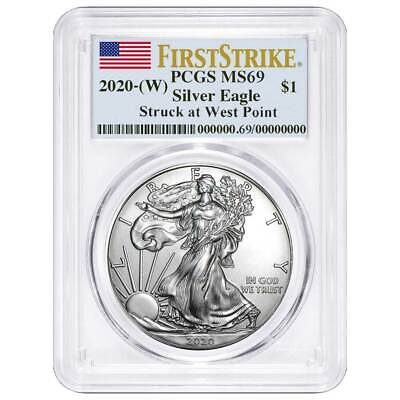 2020 (W) $1 American Silver Eagle PCGS MS69 First Strike Flag Label
