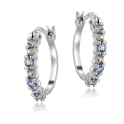 925 Sterling Silver Tanzanite & Diamond Accent Hoop Earrings