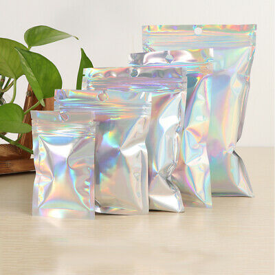 100pcs Self Sealing Plastic Storage Bags Holographic Gift Jewelry Packaging Bag
