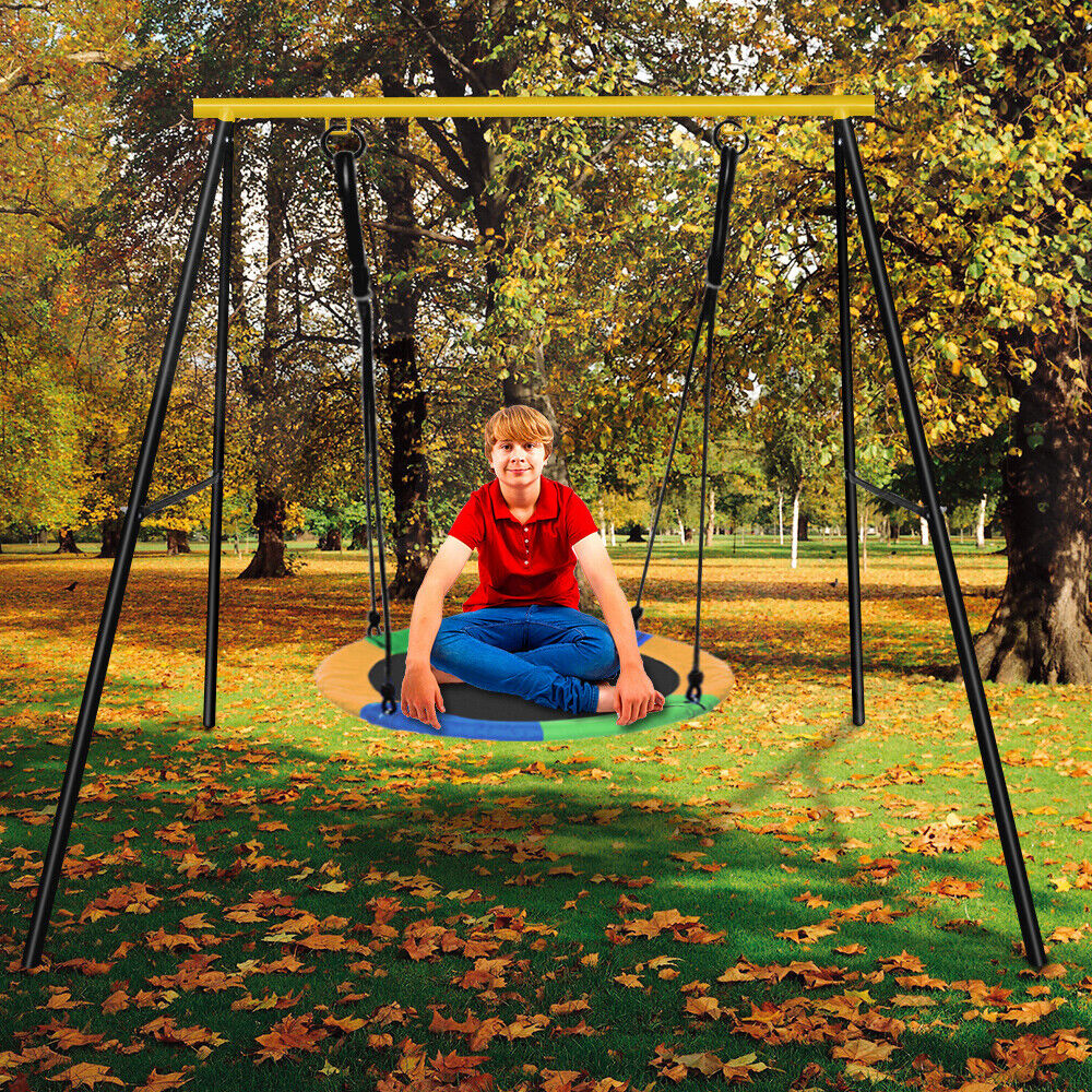 Metal A-Frame Swing Set Frame Stand Fun Play Chair Kids Chil