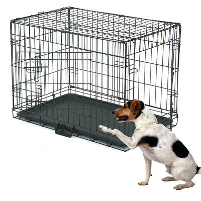 "30"" Dog Crate Fold Metal Pet Cage Kennel House for Animal 2 Door w/Divide w/Tray"