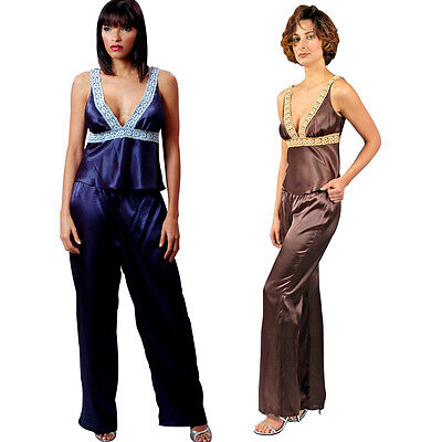 Plus Size Lingerie Size 1X 2X or 3X  Blue or Brown Charmeuse Pajamas VX2033X ()