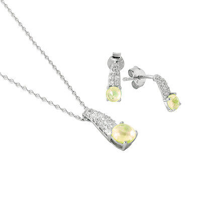 925 STERLING SILVER BIRTHSTONE PENDANT NECKLACE & EARRING SET /OPAL /OCTOBER ()