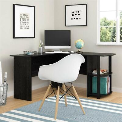 FCH Office L-Shaped Computer Desk Corner Workstation Laptop Table Shelves Black