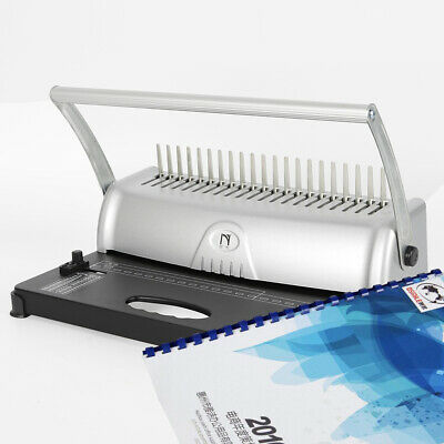 21 Hole Handle Manual Comb Binding Machine Paper Punch Binder Office 450 Sheets