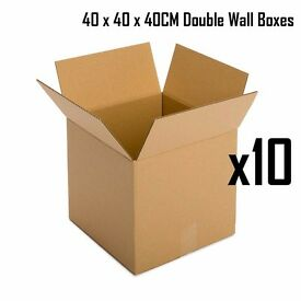 10 x Cardboard Double Wall Corrugated Carton Boxes Removal Packing 40x40x40cm