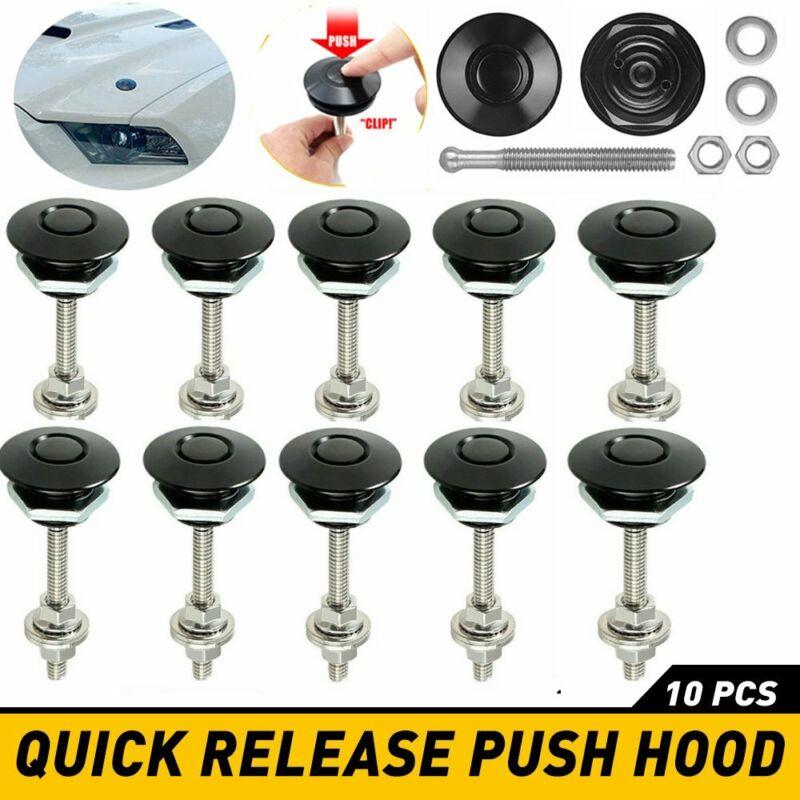 2-10x Push Button Quick Release Hood Bonnet Pins Lock Clip Car Bumper Latch Kit