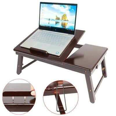 Modern Wood Folding Lap Desk Tray Table Drawer Bed Food Laptop Notebook Brown