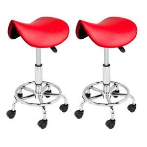2 Red Salon Stool Hydraulic Chair Tattoo Facial Beauty Spa Massage Clinic Doctor - BRAND NEW - FREE SHIPPING