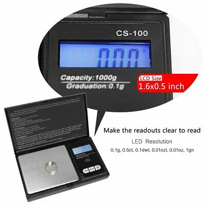 Small Mini Digital Pocket Scale 1000g x 0.1g Weight Jewelry Gold Silver Coin -