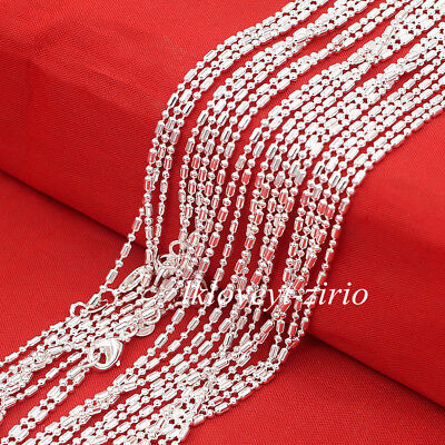 Wholesale Lots 1.4mm Bar & Bead Link Chain 925 Sterling Silver Necklace 16